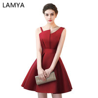 Lamya Scalloped Cheap Red Stain A Line Prom Dresses 2017 Elegant Evening Party Dress Plus Size