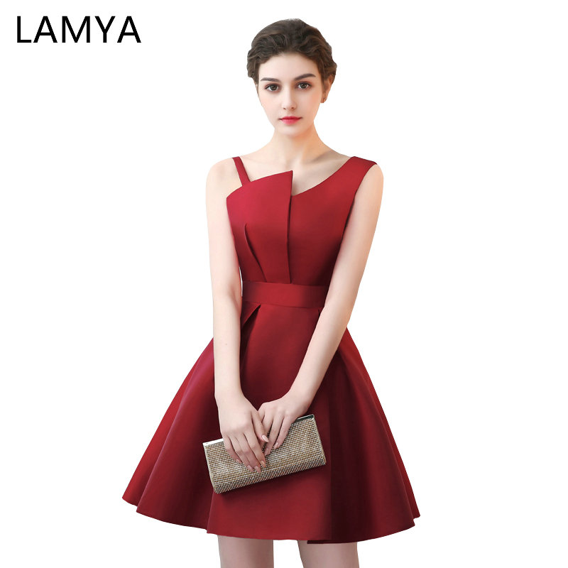 Lamya Scalloped Cheap Red Satin A Line   Prom     Dresses   2018 Elegant Evening Party   Dress   Plus Size Special Occasion Gowns