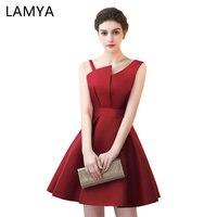 Lamya Scalloped Cheap Red Stain A Linha de Vestidos de Baile 2018 vestido de Noite Elegante Vestido de Festa Plus Size Vestidos Especiais da Ocasião