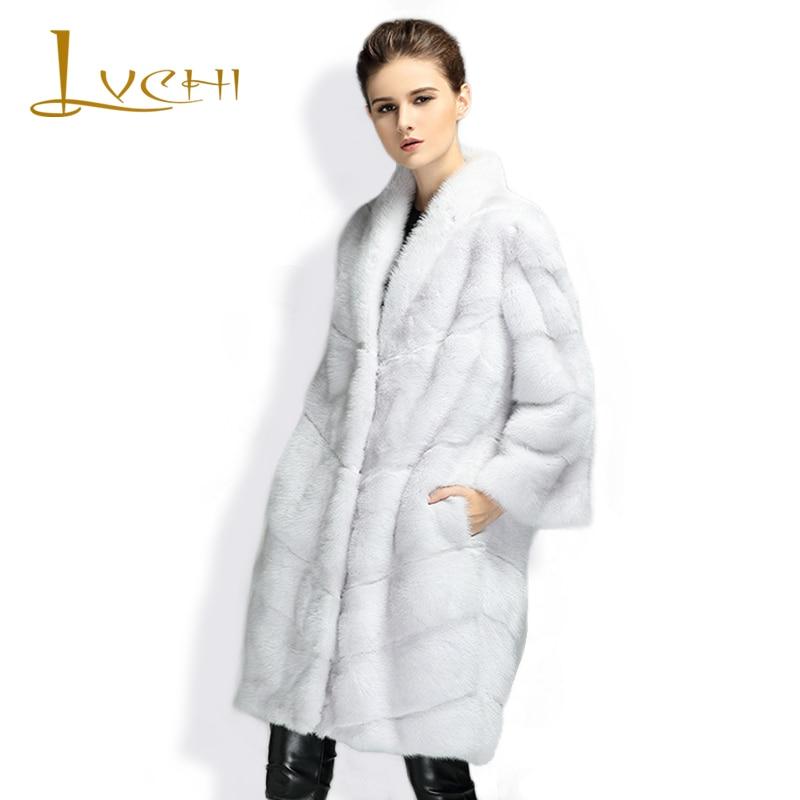 US $1630.99 |LVCHI Winter Neue Ankunft Mode Frauen Natürliche Nerz Pelzmantel Weiß Dicken Gestreiften Cut drehen unten Kragen Mädchen Pelz mantel 2019