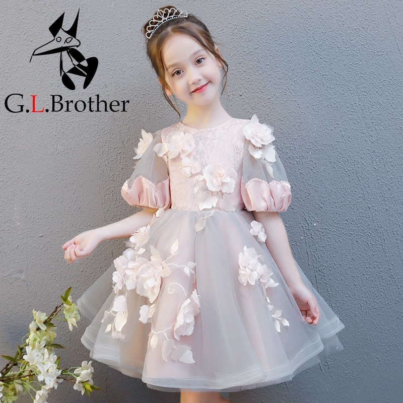 Retro Flower Girl Dress For Wedding Short Sleeve Floral Girls Formal Dress Ball Gown Holy Communion Dress Princess Birthday Gown cute short sleeve round neck ruffled balll gown dress for girls