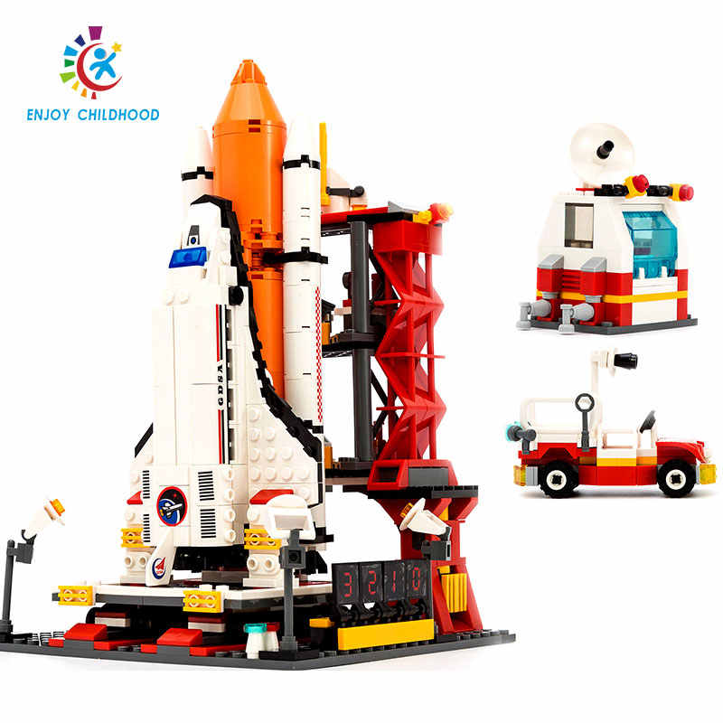 GUDI 679Pcs City Spaceport Space Shuttle Launch Center Bricks Building Block Educational Toys For Kids Compatible Legoings 8815
