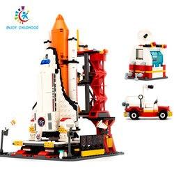 Город космопорт пространство трансфер Старт центр 679 шт. кирпичи строительный блок Развивающие игрушки для детей Legoings 8815