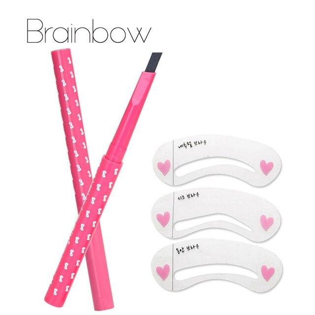 1pc Eyebrow Pencil Longlasting Waterproof Durable Automaric Eye Brow Liner+3 Eyebrow Shaping Stencils Grooming Kit Makeup Tools
