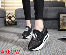 Women shose Hook & Loop Concealed Heel High Height Increasing High Casual Shoes Wedges Boots Spring Shoes Women