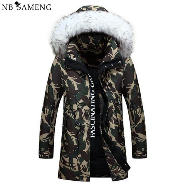 2017 Nova Moda Padrão de Camuflagem Dos Homens jaqueta de Inverno Longo Casaco Espessamento Ocasional Gola de Pele Com Capuz Pato Branco Para Baixo Casacos