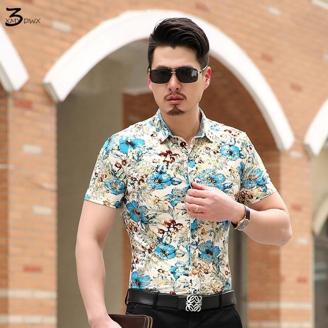 de73aea2ff1c5 XMY3DWX d'été hommes de boutique haut de gamme mode loisirs floral coton à  manches