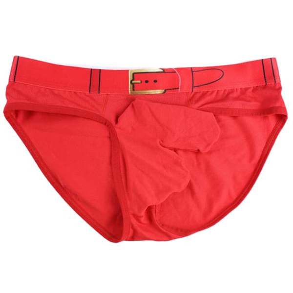 LONJONG Men long straight Sexy Underwear Bulge Pouch Boxer Shorts, Red L