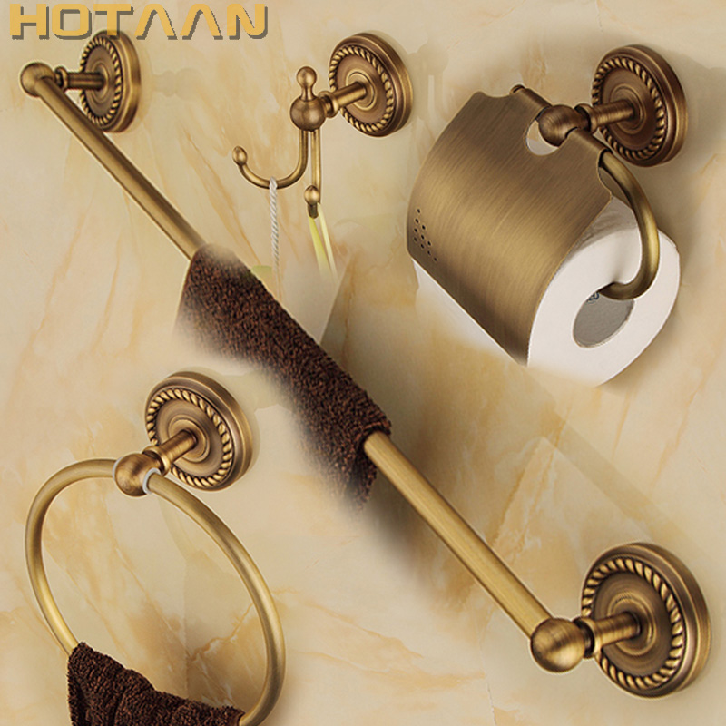 Free shipping solid brass Bathroom Accessories Set Robe hook Paper Holder Towel Bar Soap basket bathroom