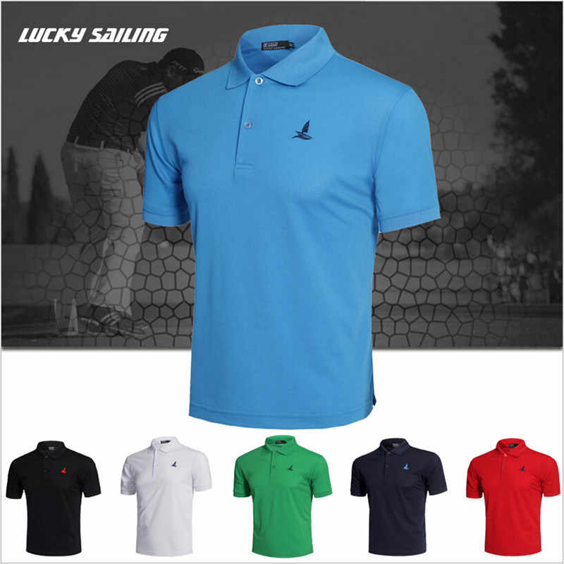 LUCKY SAILING Brand Men polo shirt workout Fitness male Running Outdoor sports jogging Golf clothing Short T-shirts tees Tops