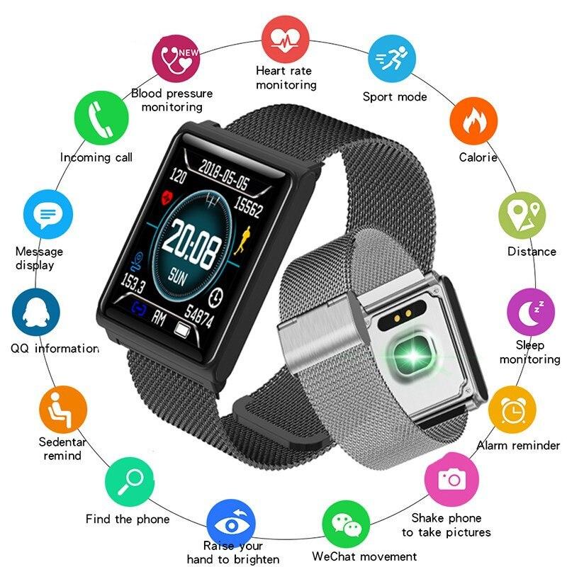 Nuevo reloj inteligente para hombre para Android iOS LED pantalla de gran Color relojes deportivos para mujer pulsera de Fitness Frecuencia Cardíaca presión arterial monitor-in Pulseras inteligentes from Productos electrónicos    1