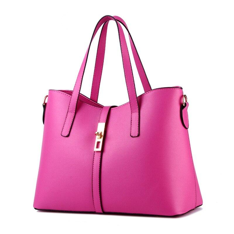 купить Fuchsia Cusual PU Women Handbag Elegant Office Lady Shoulder Bag Lock Crossbody Messenger по цене 4147.63 рублей