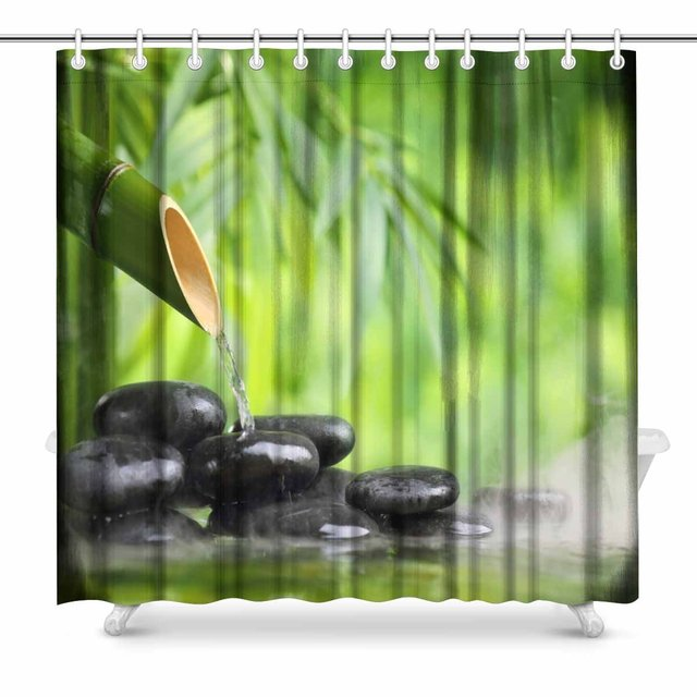 Aplysia Spa Still Life With Bamboo Fountain And Zen Stone Bathroom Shower Curtain Accessories 72 Inches