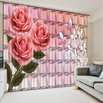Fashion 3d curtains Relief flower Bedding room 3D Curtains butterfly Home Decoration