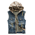 The New  Korean version of Slim denim vest hole men's hooded denim vest camouflage men  denim vest size:M-XXL 80