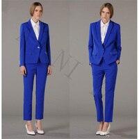 Jacke + Pants Frauen Anzüge Königsblau Einreiher Weibliche Büro Uniform Abend Formalen Damen Hosenanzug