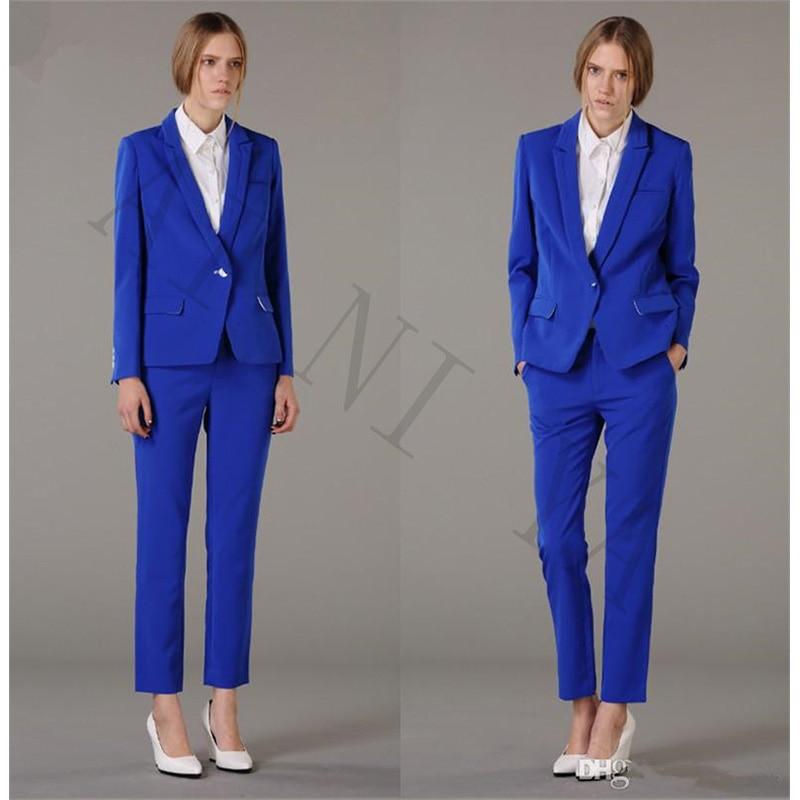 € 82.79 9% de réduction|Veste + pantalon femmes d'affaires costumes bleu Royal simple boutonnage femme bureau uniforme soirée formelle dames pantalon