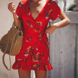 Summer Women Dress Ruffles Print Sexy Bodycon Beach Female Chiffon Party Mini Dresses Vestidos XZ236 11