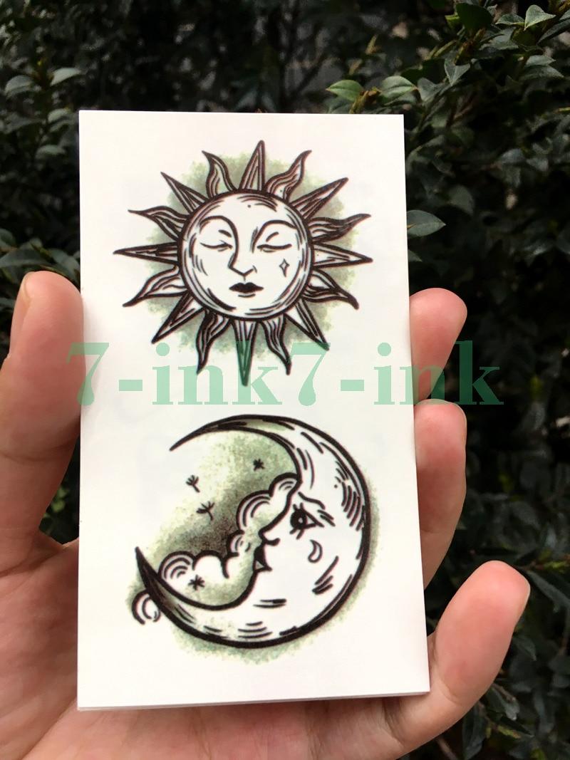 Waterproof Temporary Tattoo Sticker Sun Moon Cloud  Tatto Flash Tatoo Fake Tattoos For Men Women