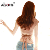 Korean Style T Shirt Women Slim Was Thin Round Neck Sexy Tops Backless Strap Bow Top
