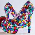 2016 nova moda doces sapatos sapatinho de cristal Das Mulheres do partido sapatos de salto alto sapatos de casamento do diamante sapatos de noiva Mulheres bombas 1018