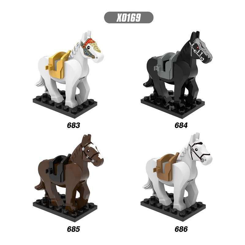 Single Sale Hobbit Lord of the Rings White Blown Black Horse Bricks Building Blocks Figures Bricks Dolls Toys For Children X0169