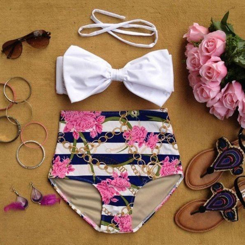 2017 new European and American bow split swimsuit retro high waist printing agent Provocateur bikini bikini ladies swimwear