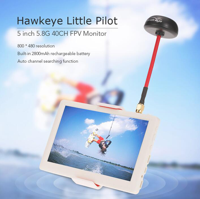 5inch 5.8G 40CH FPV Monitor HD Monitor Aerial FPV Displayer Receiving Display Monitor With Antenna For Hawkeye Little Pilot cuav new hawkeye little pilot 5 inch 5 8g 40ch fpv monitor for qav250 racing drone diy quadcopter aerial photography display
