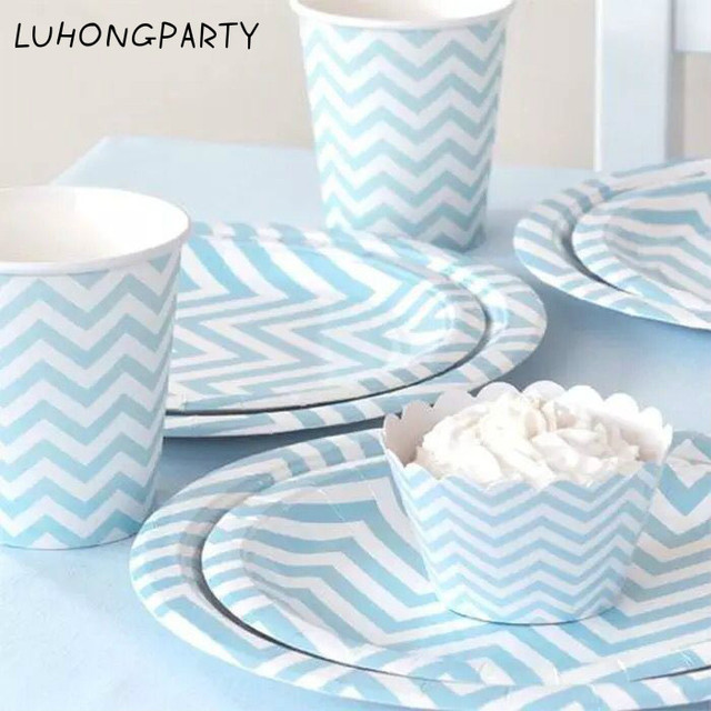 Free Shipping 48pcs blue yellow Disposable Tableware Party Paper Plates Cups Baby Shower Favor LUHONGPARTY  sc 1 st  AliExpress.com & Free Shipping 48pcs blue yellow Disposable Tableware Party Paper ...
