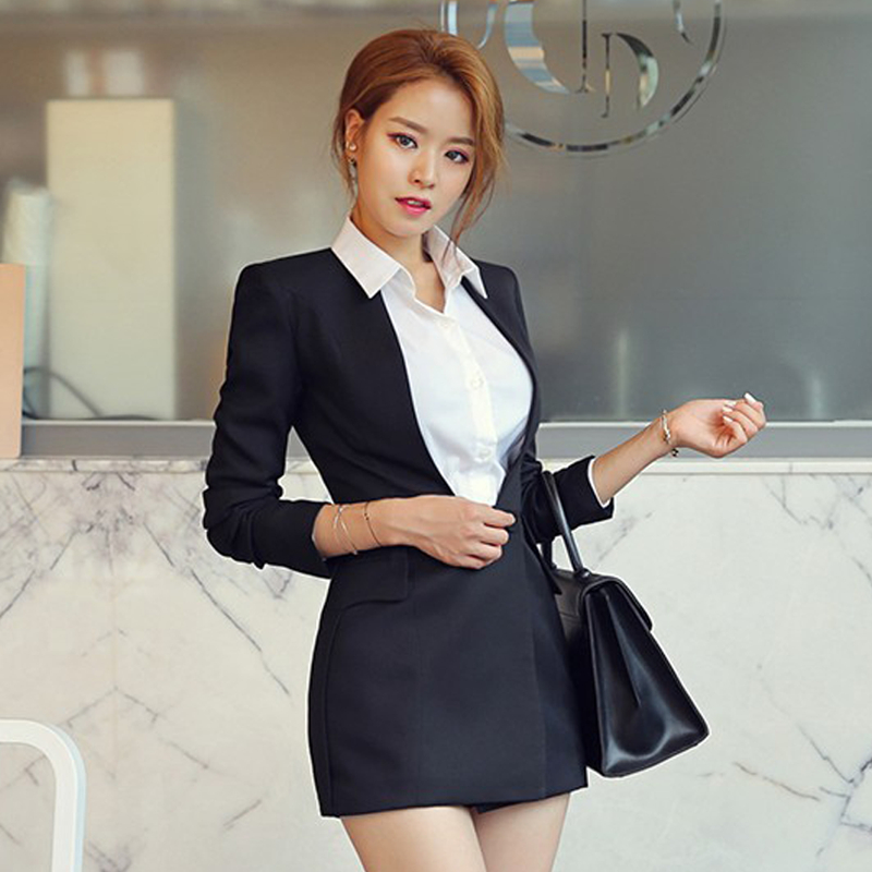 Office Ladies Slim Waist Black Women Long Blazer Buttons Elegant Women Suit Outerwear Spring Summer Pockets Female Jacket 2019