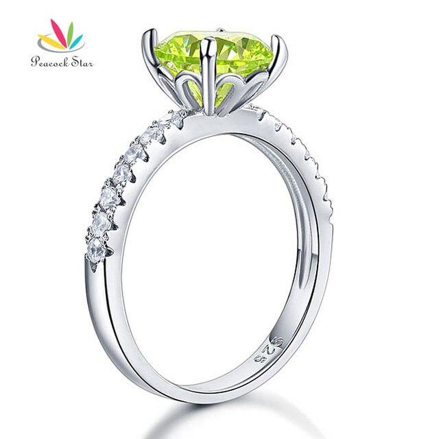 Павлин Звезды Стерлингового Серебра 925 Люкс Свадебные Обещание Обручальное Кольцо 2 Карат Имитация Зеленый Перидот CFR8214