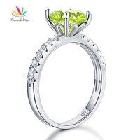 טווס כוכב כסף סטרלינג 925 תכשיטי כלה חתונת הבטחת טבעת האירוסין 2 קרט ירוק CFR8214