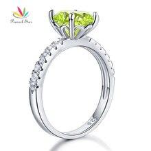 Павлин звезда 925 Серебро Свадебные Обещание Обручальное кольцо 2 карат зеленый Jewelry CFR8214