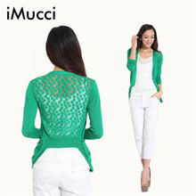 iMucci High Quality Fashion Women Cardigan Lace Sweet Candy Pure Color Sexy Lady Slim Crochet Knit