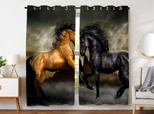 HommomH Curtains (2 Panel) Grommet Top Darkening Blackout Room Vintage Style Horse Black And Yellow