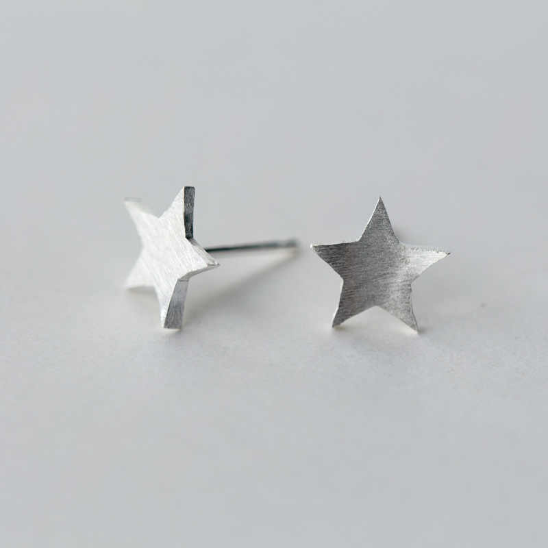 Authentic 925 Sterling Silver Exquisite Star Stud Earrings for Women Gift Hyperbole Fashion Jewelry Bijoux EH879