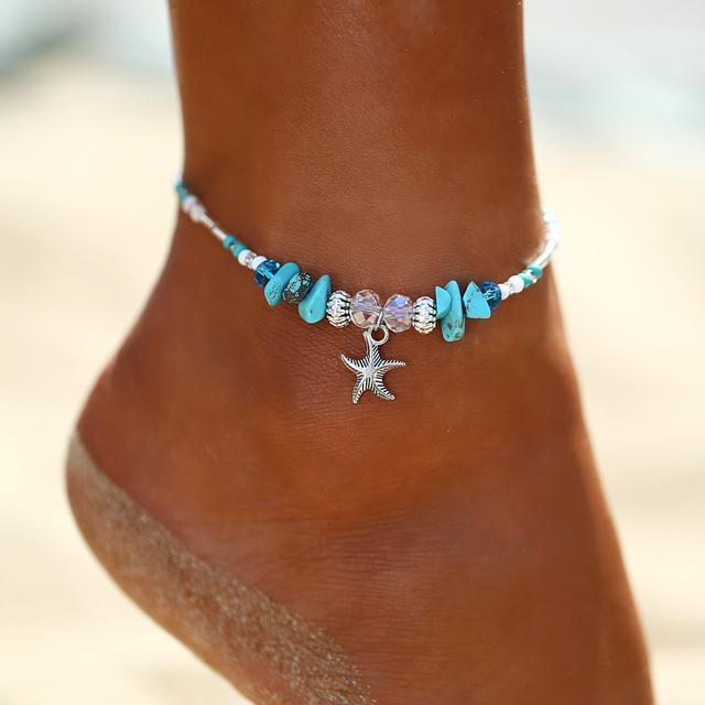 Vintage Handmade Starfish Wave Anklet Bracelet