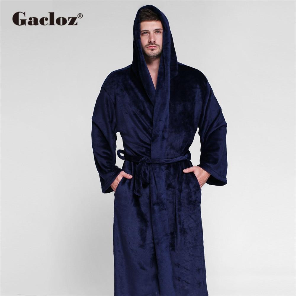 Gacloz Men Luxury Bathrobe Long Kimono Bath Robe Plus Size Lounge Sleepwear Flannel Men and Women Couple Nightgown