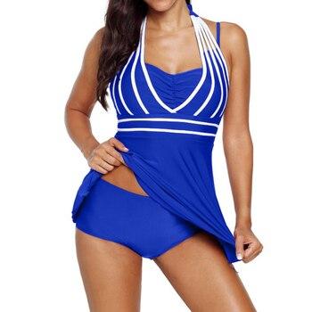 Plus size 5XL One Piece Swimwear Women Halter Swimdress Two Pieces Tankini Set Monokini Bathing Suit swimsuit 4