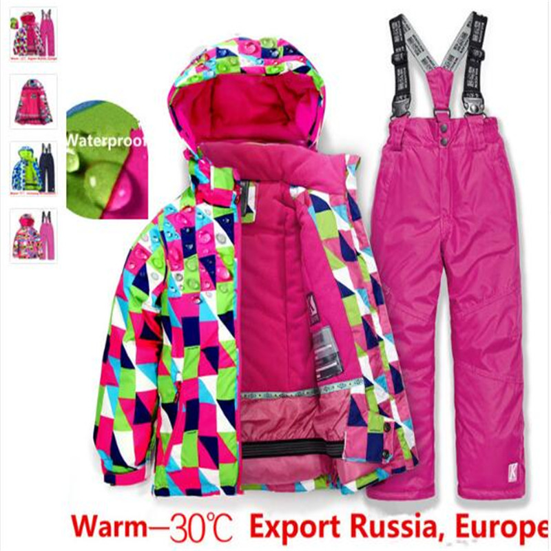 Free Shipping Boys/girls Ski Suit Waterproof Windproof Snow Pants+Jacket A Set Of Winter Sports Child Thickened Clothes  New