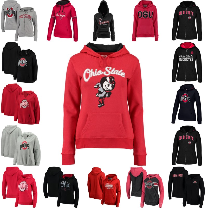 Women's Ohio State Buckeyes Big Logo Contrast Liner Meteor Hoodie Jerseys Custom Any Name Any Number Stitched Pullover Hoodie цена