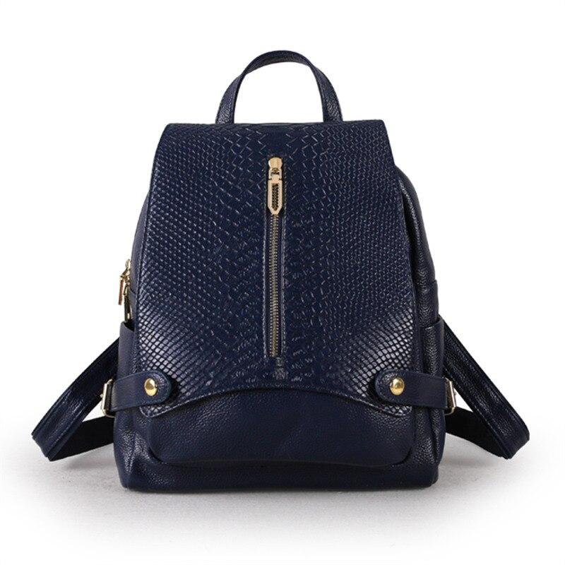 Nesitu haute qualité nouvelle mode noir bleu argenté blanc en cuir véritable femmes sac à dos pour fille femme M9009