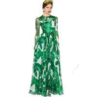 Long Sleeve Autumn Dress Women Fashion Elegant Leaves Print Casual Vestidos Runway Designer Vintage Maxi Dresses