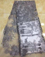 (5yards/pc) high quality African tulle lace gray French net lace fabric with wonderful embroidery and sequins for dress FLZ930