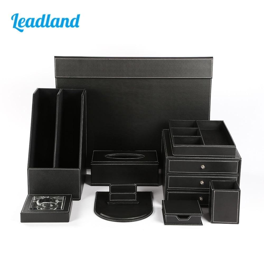 Quality Office Desk 10-piece Set Pen Pencil Holder Business Card Stand Stationery Organizer Box Tissue Dispenser T07 Black/Brown