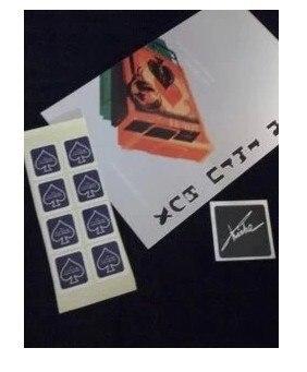 Close-up magic tricks coin into card box card sticker magic prop