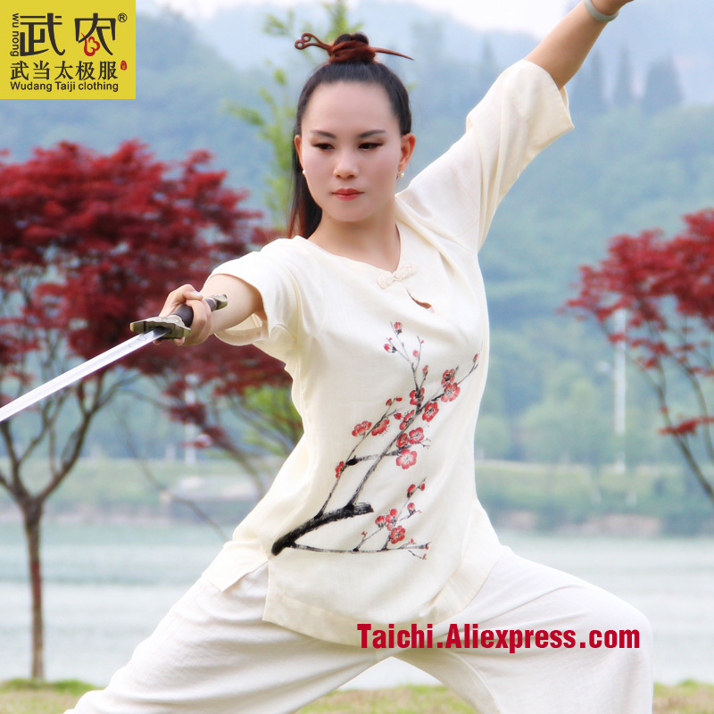 Wudang Hand-painted Linen Female  Handmade  Linen Tai Chi Uniform Wushu  Kung Fu  Martial Arts Training Suit  Jacket+pants painted handmade linen tai chi uniform taijiquan female clothing summer short sleeved wushu kung fu jacket pants