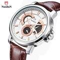 Спортивные часы NuoduN  мужские кварцевые часы с кожаным ремешком  водонепроницаемые кварцевые часы 1935