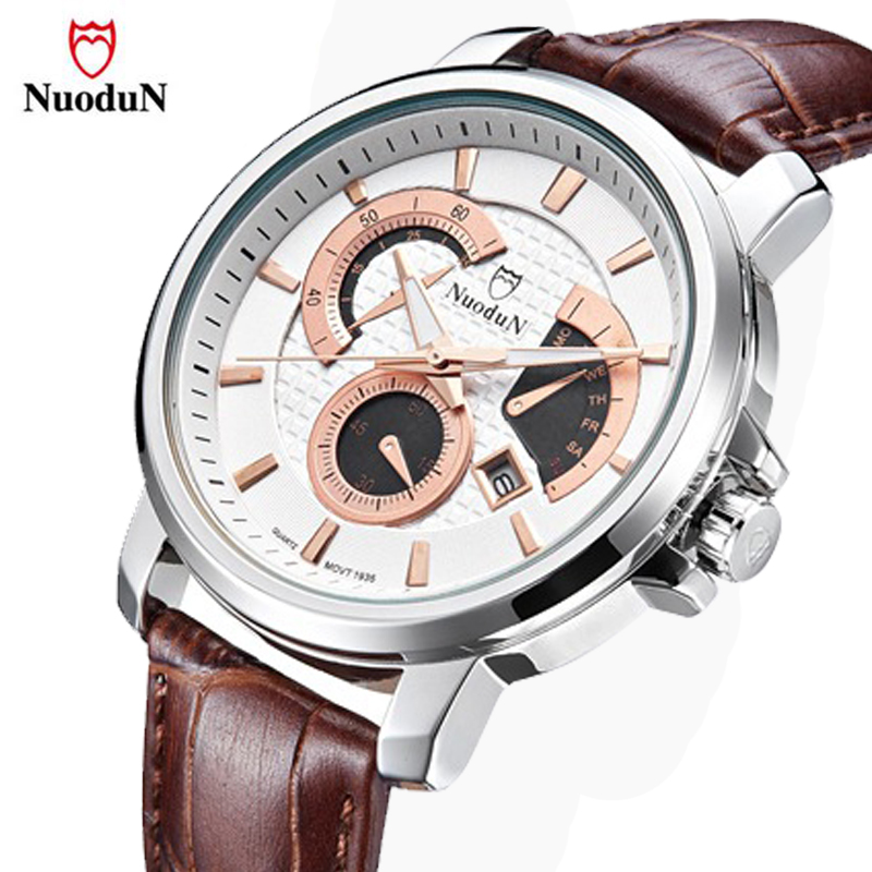 NuoduN Sport Watch Men Quartz Wrist Watches Leather Top Brand Luxury Male Clock Relogio Masculino Waterproof Quartz-watch 1935