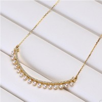 S925 silver Genuine Natural freshwater pearl with smile smile curved necklace pendant women's collarbone chain